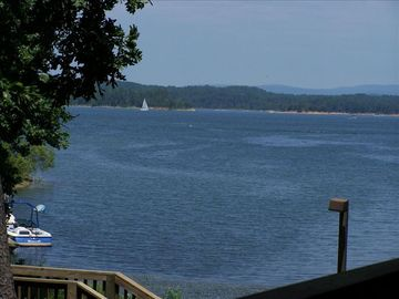 Lake Ouachita property rental - View from porch swing on covered deck