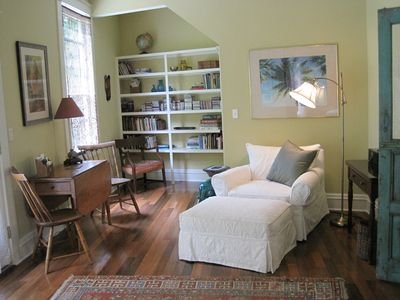 Master suite with library/lounging area. Suite has double doors to the outside.