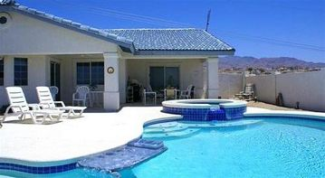 Lake Havasu City house rental - The private front 'Pool/Spa' Deck overlooks the lake, also.