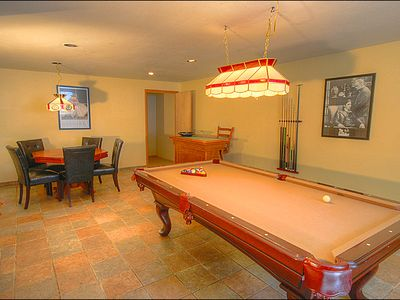 Game Room with Card Table, Pool Table and TV