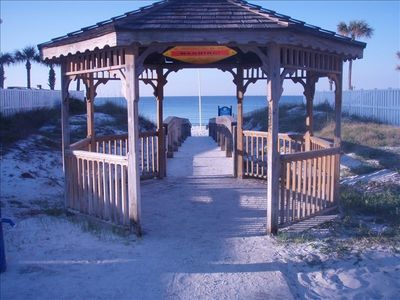 Pompano Street beach access with gazebo and shower