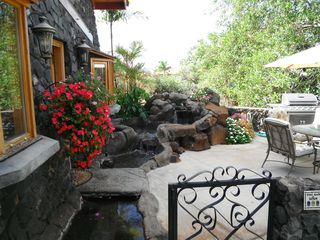 Kihei cottage photo - View of moat, sitting pond for two & waterfall, rear entry door is to the l