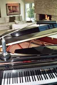 Grand piano with fireplace and living room seating in background.