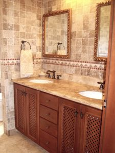 Master Bath with Double Sinks.