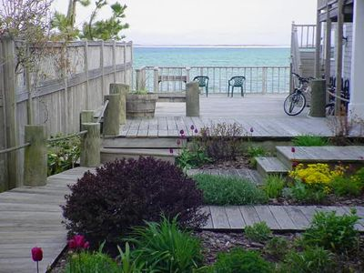 Provincetown condo rental - View of common area deck from Living Room Window