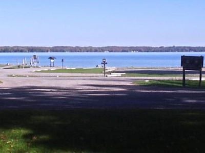 View of Mullett Lake from Deck of Manor--lake connected to inland waterway
