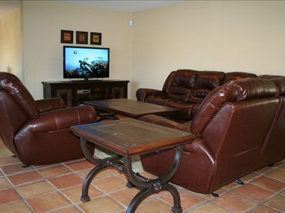 Living Room W/ 6 Person Leather Sofa, Rocking Recliner, 1080P LCD TV & Blu-ray