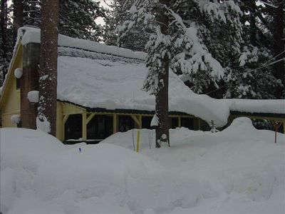 Front of the cabin in the snow