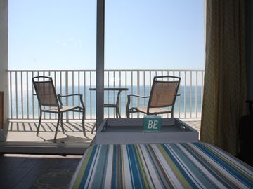 Orange Beach condo rental - View from living room. Balcony has table and 2 chairs.
