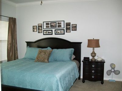 Hot Springs condo rental - Master King Bed Remote Cable TV Double sink in bath with a walk-in rain shower!