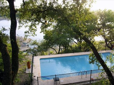 Spicewood house rental - View of crystal blue private pool. Picture does not show current lake level.