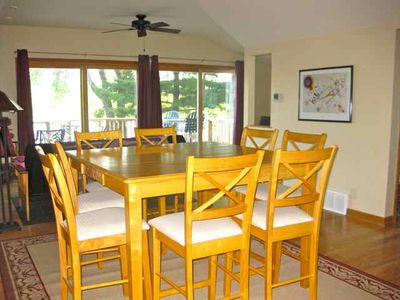 Beautiful views while you share meals or play games on the large dining table.
