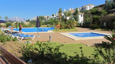 Gardens, nearest pool and children's pool