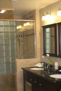 Bathroom with Large Spa Shower & Double Vanity
