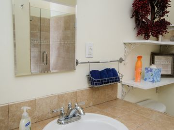 Bathrooms are stocked with shampoo, conditioner, soap, air freshner, and more...
