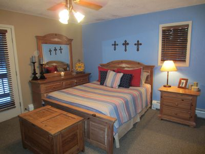 Master Bedroom - french doors leading to deck, large queen bed, big closets