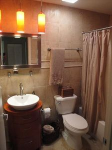 Brand new beautifully updated guest bathroom with tub!