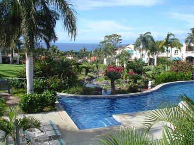 Palms pool terrace and garden overlooking the Ocean