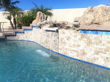 Yuma house rental - Newly retiled pool as of Oct 6 2013 with waterfall feature.