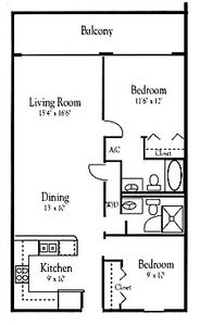 Floor Plan - Floor area 955 sq. ft.  Balcony area 152 sq.ft.