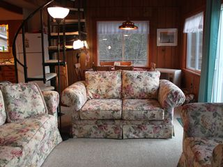 Whiteface Mountain chalet photo - Comfy seating for friends & family to gather around the fireplace