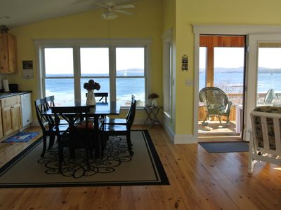 Seaclusion cottage is focused on the bay! Kitchen, dining, living room - open bright with all eyes on the view!
