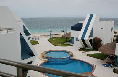 Puerto Morelos condo rental - Ocean view from Living area balcony.