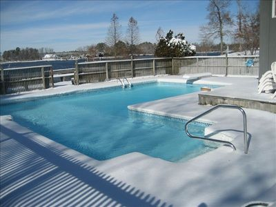 The pool with snow covered deck