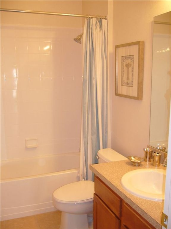 One of the three bathrooms, this is shared between two bedrooms