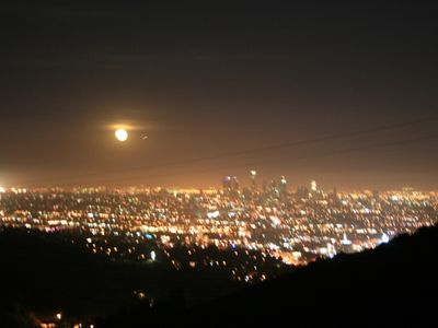 Hollywood house rental - City lights view with moon