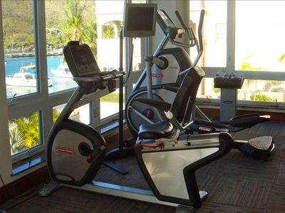 Work out in the fitness center  while overlooking the beautiful harbor.
