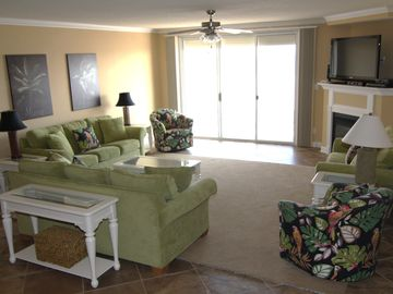 Overall View of Living Room, Cushioned Seating for 10-12