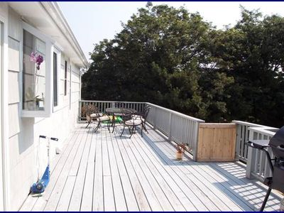Large deck overlooking backyard