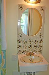 East Quogue house photo - Hand-painted ceramic sink in queen room bathroom
