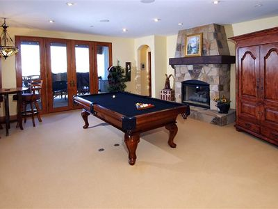 Covered Deck & Pool Table in Media Room.