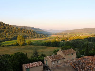 Spectacular view of the Luberon Valley from the south facing terrace