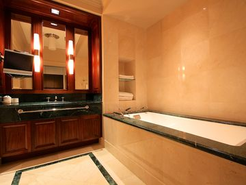 Beautiful and Incredibly Spacious Marble Bathroom