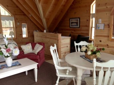 Parry Sound cottage rental - Loft bed-sitting room with bath and balcony overlooking lake