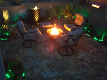 Scottsdale North house rental - See patio heater attached to wall, to make your outside visit comfy and usable.