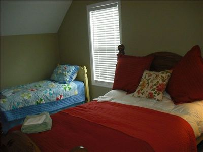 Upstairs 1 orf 2 guest bedrooms with queen and twin bed.