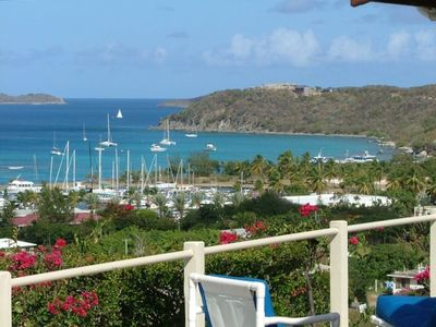 Deck overlooking the Caribbean Sea, the Virgin Gorda Yacht Harbor and Cow Hill