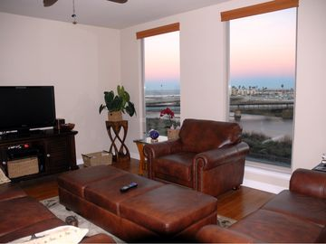 Living Room, all leather furniture