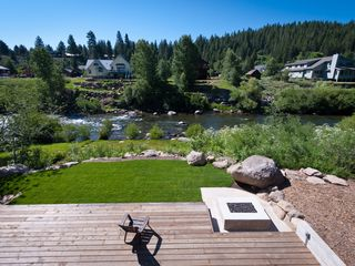 Truckee house photo - Deck step down to expansive grass. Walk way down to the Truckee river