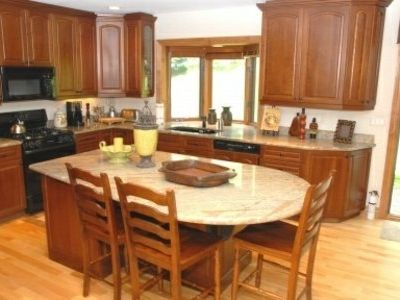 There is a beautiful, gourmet kitchen equipped with everything you need to entertain family and friends.