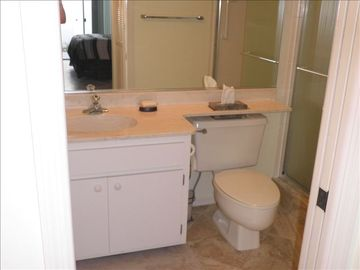 Ensuite master bathroom with walk in shower.