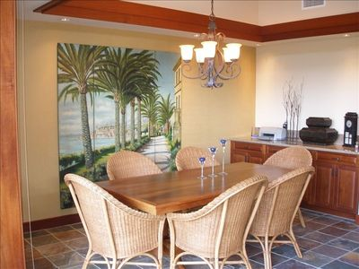 Dining area with a beautiful Koa table