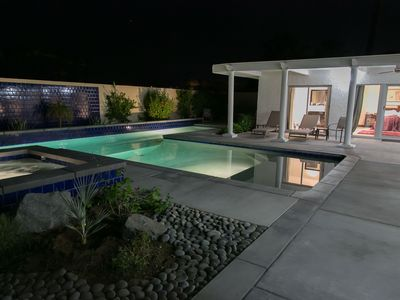 The Pool and Spa at night.