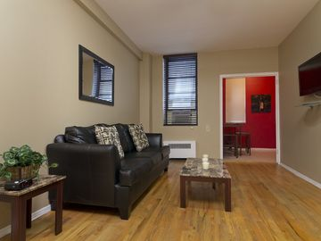 Upper East Side apartment rental - Living Room with Coffee Table and TV