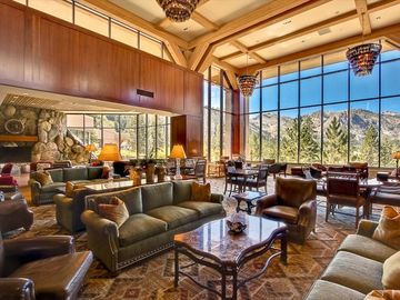 Squaw Valley - Olympic Valley condo rental - Grand Lobby with tables of chest and checkers. Gorgeous Views of the Valley!