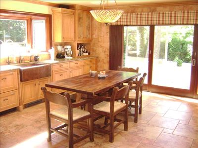 Designer Kitchen with Wolf Range & BBQ, Sub Zero, Mesquite table & more.